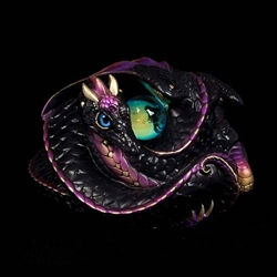 Coiled Dragon Sculpture in Black Gold