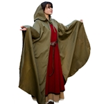 Medieval Hooded Cloak - Green Twill