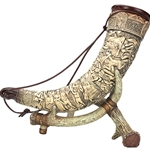Raised Relief Drinking Horn with Stand