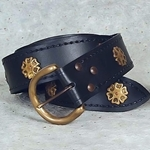 Medieval Knight's Belt with Antiqued Brass Roses Black Leather 200676