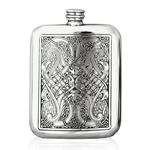 Celtic Knots Stamped Pewter Flask 6 Ounces