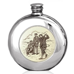 Golf Scrimshaw Pewter Flask 6 Ounces