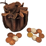 Leather Viking Pouch with Coins 804151