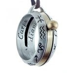 Pewter Astrology Sundial Ring Pendant 289-PC16AP