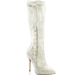 Ribbon And Lace Bridal Knee High Boots