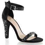 Black Satin Closed Back Ankle Strap Sandals