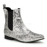 Men's Chelsea Silver Glitter Pull On Ankle Boot