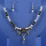 Black & White Crystal Necklace & Earrings 37-4092