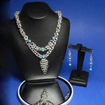 Planetary Silver Chainmail Necklace and Earring set