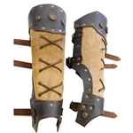 Barbarian Leather Greaves - Brown