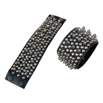 Heavy Leather Wrist Bracer with Spikes and Snap Closure 62-2901
