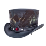 Feedback Top Hat,The Feedback Top Hat,Feedback Hat,Adam Rose Hat,Fallen Owl Hat,Tattoo Studio Hat,Leather Feedback Hat,Feedback,rock and roller hat,Rock and Roll Hat,Delta blues hat,show-stopper hat,leather top hat,Voodoo Hatter,guitar pick, band top hat,solo hat,top hat,Hand made top hat