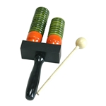 DOBANI Wooden Double Bell Agogo with Mallet - Green and Orange