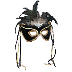 Black Feather Couples Mask 100-113421