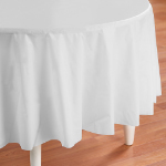 Bright White (White) Round Plastic Tablecover 101-193021
