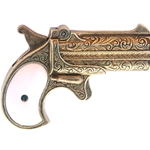 Western 1866 Double Barrel Derringer Gold Finish Non-Firing FD1262L