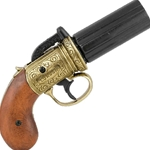 Brass Finish British 1840 Pepper-Box Revolver