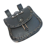 Medieval Belt Pouch - Black Leather