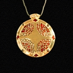 Celtic Round Shield Pendant Gold Plate Red Inlays PCN3