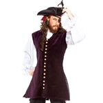 Burgundy Velvet Pirate's Vest