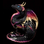 Scratching Dragon Sculpture Black Gold  506-BG