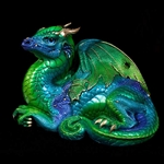 Old Warrior Dragon Sculpture Emerald Peacock 513-EP