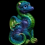 Baby Dragon Emerald Peacock Statue