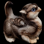Crouching Griffin Chick with Silver Wolf Finish