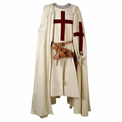 Hooded Crusader Cape with Red Cross