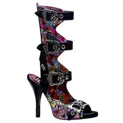 Zombie Psychobilly Print Buckle Sandals