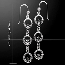 Celtic Triple Claddagh Silver Dangle Earrings 52-TER156