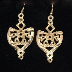 Celtic Knotwork Earrings Gold Plate PCE1