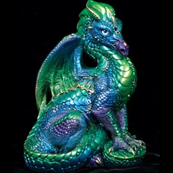 Emerald Peacock Male Dragon Sculpture