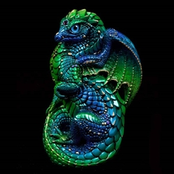Young Dragon Sculpture in Emerald Peacock