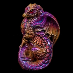 Young Dragon Sculpture in Violet Flame