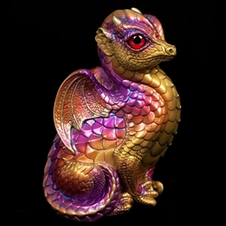 Fledgling Dragon Sculpture in Violet Flame