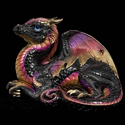 Old Warrior Dragon Sculpture Black Gold