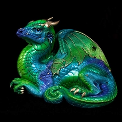Old Warrior Dragon Sculpture Emerald Peacock
