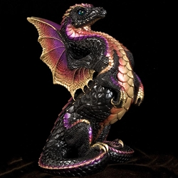 Rising Spectral Dragon Sculpture in Black Gold