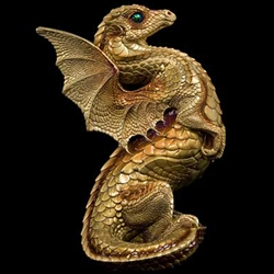 Rising Spectral Dragon Sculpture in Gold