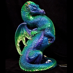 Emperor Dragon Sculpture in Emerald Peacock Finish